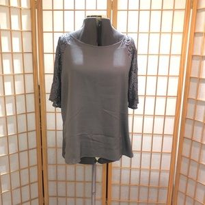 NY&CO Gray Blouse with lace sleeves